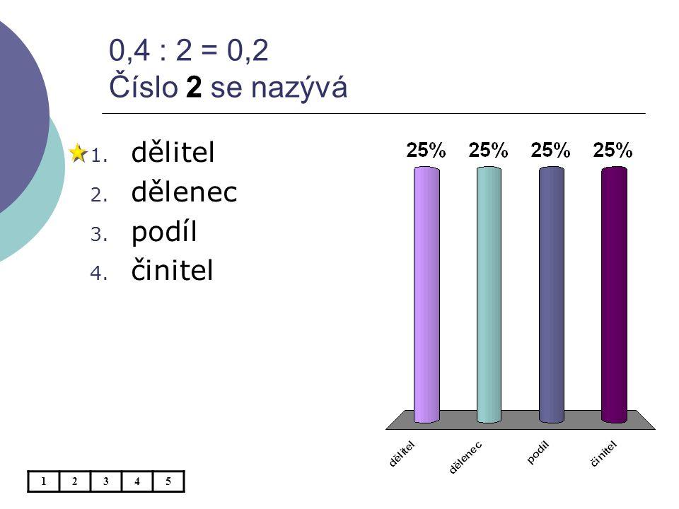 Když vynásobíme dělence a dělitele číslem 10, podíl bude 1. stejný 2. větší 3. menší 12345