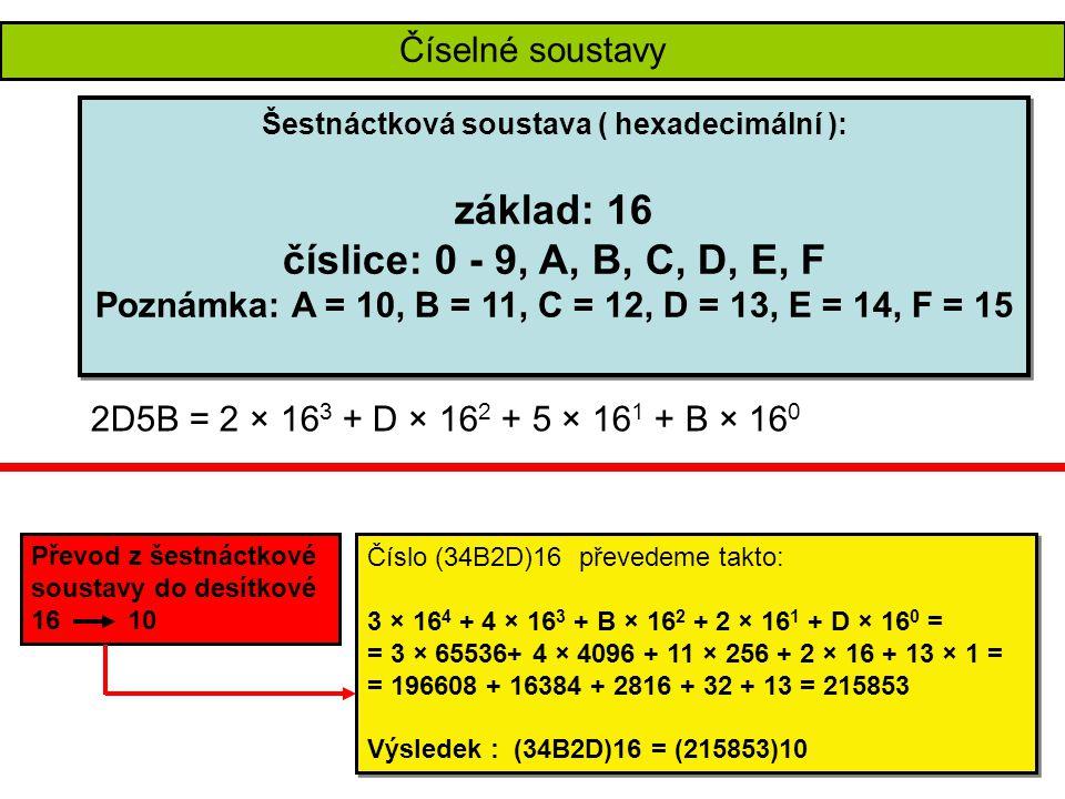 Číselné soustavy – převody soustav Číslo (1011011) 2 převedeme takto: 1 × 2 6 + 0 × 2 5 + 1 × 2 4 + 1 × 2 3 + 0 × 2 2 + 1 × 2 1 + 1 × 2 0 = = 1 × 64 + 0 × 32 + 1 × 16 + 1 × 8 + 0 × 4 + 1 × 2 + 1 × 1 = = 64 + 0 + 16 + 8 + 0 + 2 + 1 = 91 Výsledek : (1011011) 2 = (91) 10 Číslo (1011011) 2 převedeme takto: 1 × 2 6 + 0 × 2 5 + 1 × 2 4 + 1 × 2 3 + 0 × 2 2 + 1 × 2 1 + 1 × 2 0 = = 1 × 64 + 0 × 32 + 1 × 16 + 1 × 8 + 0 × 4 + 1 × 2 + 1 × 1 = = 64 + 0 + 16 + 8 + 0 + 2 + 1 = 91 Výsledek : (1011011) 2 = (91) 10 (56) 10 = (111000) 2 57 : 2 = 28 zb.