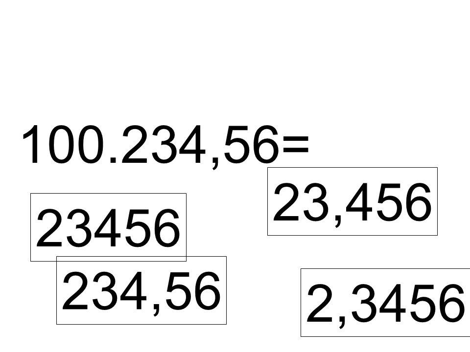 100.234,56= 23456 23,456 234,56 2,3456