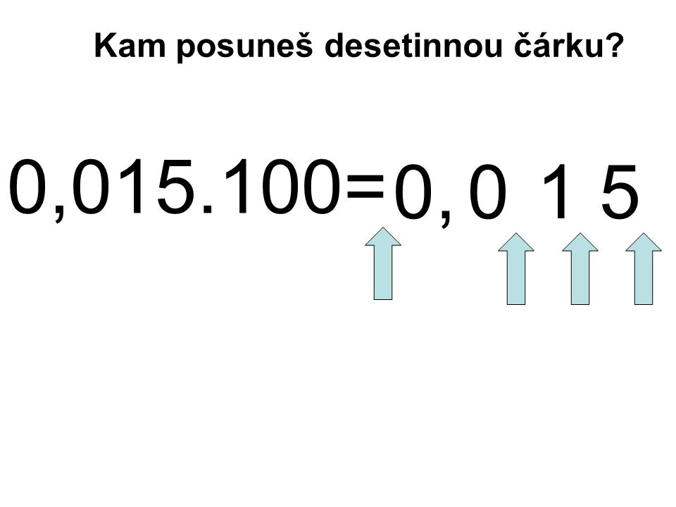 0,015.100= 0 1 5, Kam posuneš desetinnou čárku 0