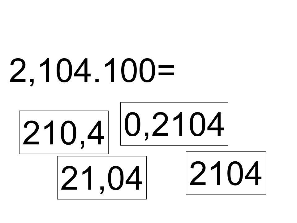2,104.100= 210,4 0,2104 21,04 2104