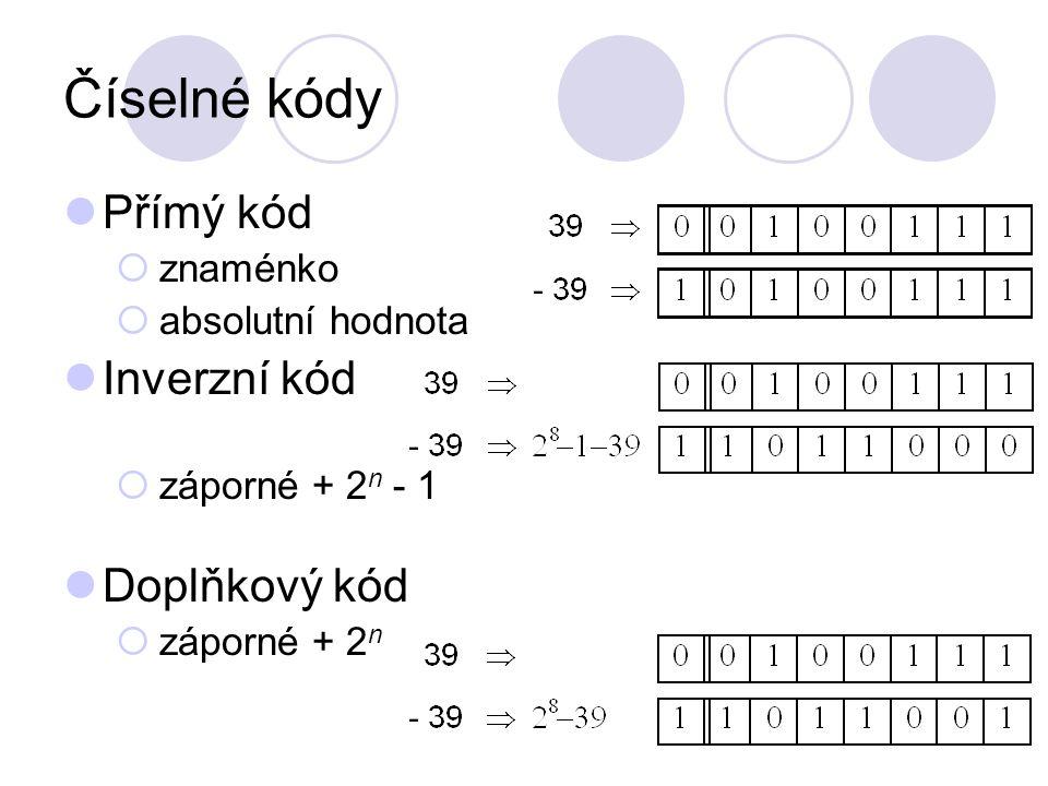 Číselné kódy Přímý kód  znaménko  absolutní hodnota Inverzní kód  záporné + 2 n - 1 Doplňkový kód  záporné + 2 n