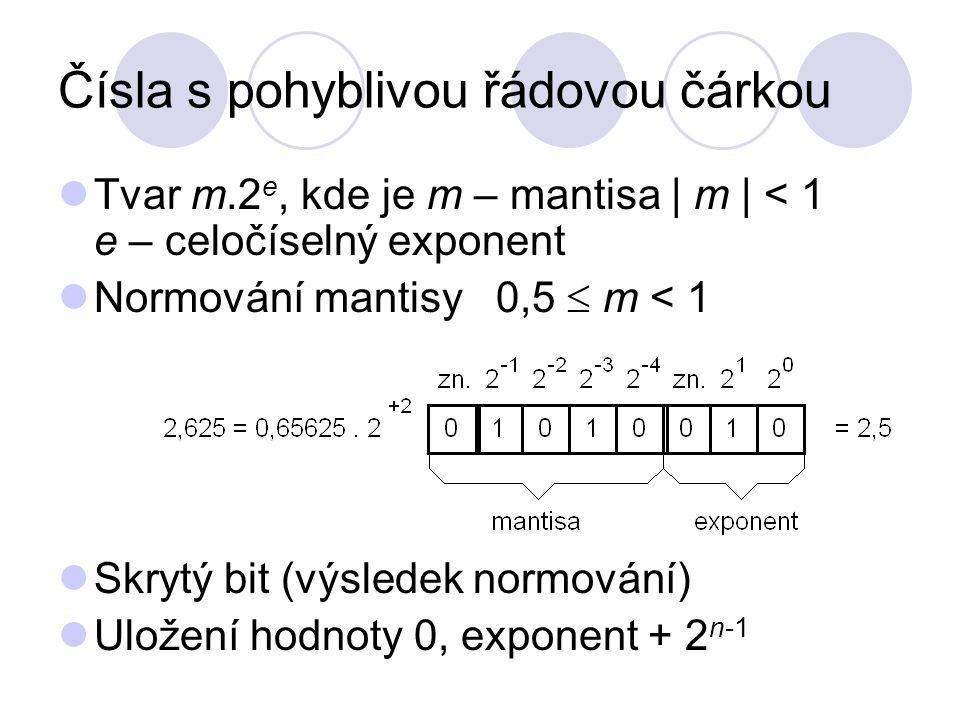 Čísla s pohyblivou řádovou čárkou Tvar m.2 e, kde je m – mantisa | m | < 1 e – celočíselný exponent Normování mantisy 0,5  m < 1 Skrytý bit (výsledek normování) Uložení hodnoty 0, exponent + 2 n-1