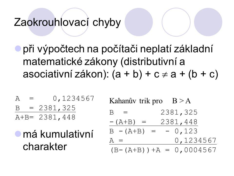 Zaokrouhlovací chyby při výpočtech na počítači neplatí základní matematické zákony (distributivní a asociativní zákon): (a + b) + c  a + (b + c) má kumulativní charakter A = 0,1234567 B = 2381,325 A+B=2381,448 Kahanův trik pro B > A B = 2381,325 -(A+B) = 2381,448 B -(A+B) = - 0,123 A = 0,1234567 (B-(A+B))+A = 0,0004567