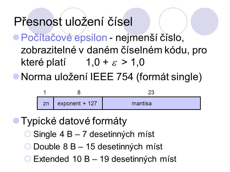 Přesnost uložení čísel Počítačové epsilon - nejmenší číslo, zobrazitelné v daném číselném kódu, pro které platí 1,0 +  > 1,0 Norma uložení IEEE 754 (formát single) Typické datové formáty  Single 4 B – 7 desetinných míst  Double 8 B – 15 desetinných míst  Extended 10 B – 19 desetinných míst zn exponent + 127mantisa 1823