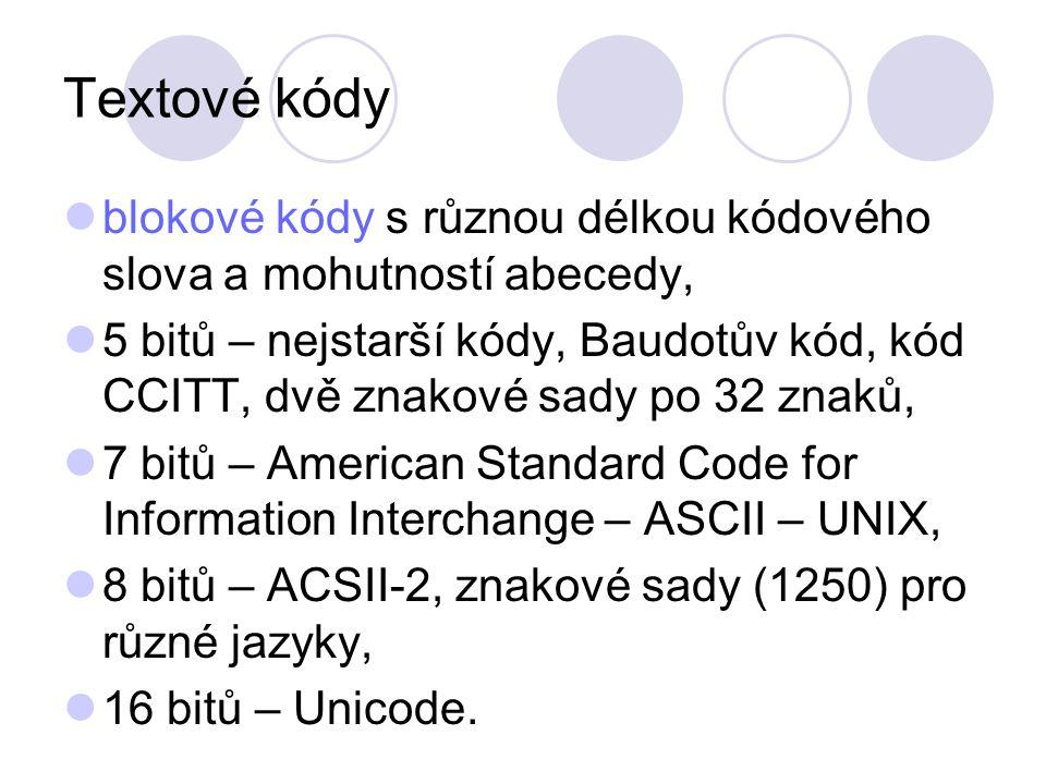 Textové kódy blokové kódy s různou délkou kódového slova a mohutností abecedy, 5 bitů – nejstarší kódy, Baudotův kód, kód CCITT, dvě znakové sady po 32 znaků, 7 bitů – American Standard Code for Information Interchange – ASCII – UNIX, 8 bitů – ACSII-2, znakové sady (1250) pro různé jazyky, 16 bitů – Unicode.