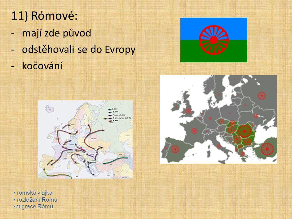 11) Rómové: -mají zde původ -odstěhovali se do Evropy -kočování romská vlajka rozložení Romů migrace Rómů
