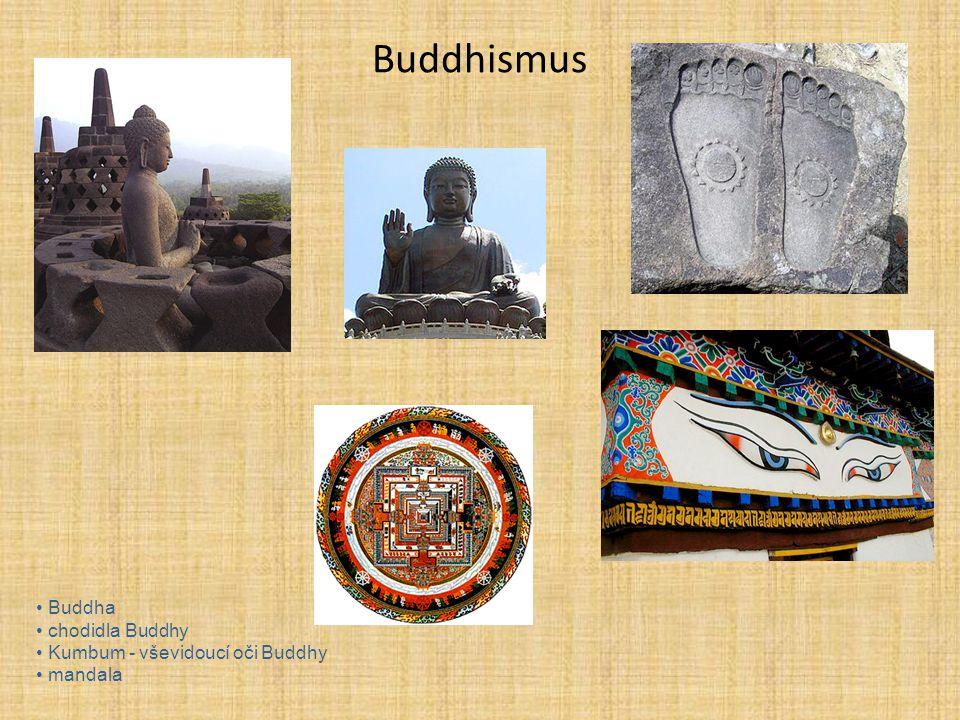 Buddhismus Buddha chodidla Buddhy Kumbum - vševidoucí oči Buddhy mandala