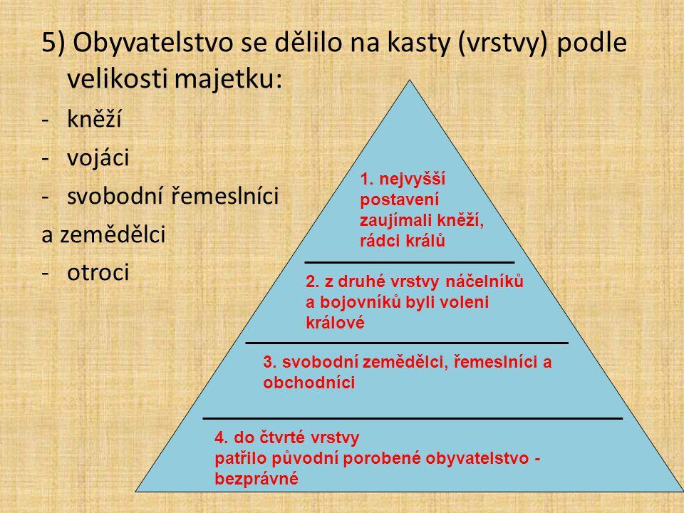 5) Obyvatelstvo se dělilo na kasty (vrstvy) podle velikosti majetku: -kněží -vojáci -svobodní řemeslníci a zemědělci -otroci 2.