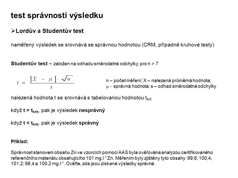 test správnosti výsledku  Lordův a Studentův test naměřený výsledek se srovnává se správnou hodnotou (CRM, případně kruhové testy) Studentův test – z