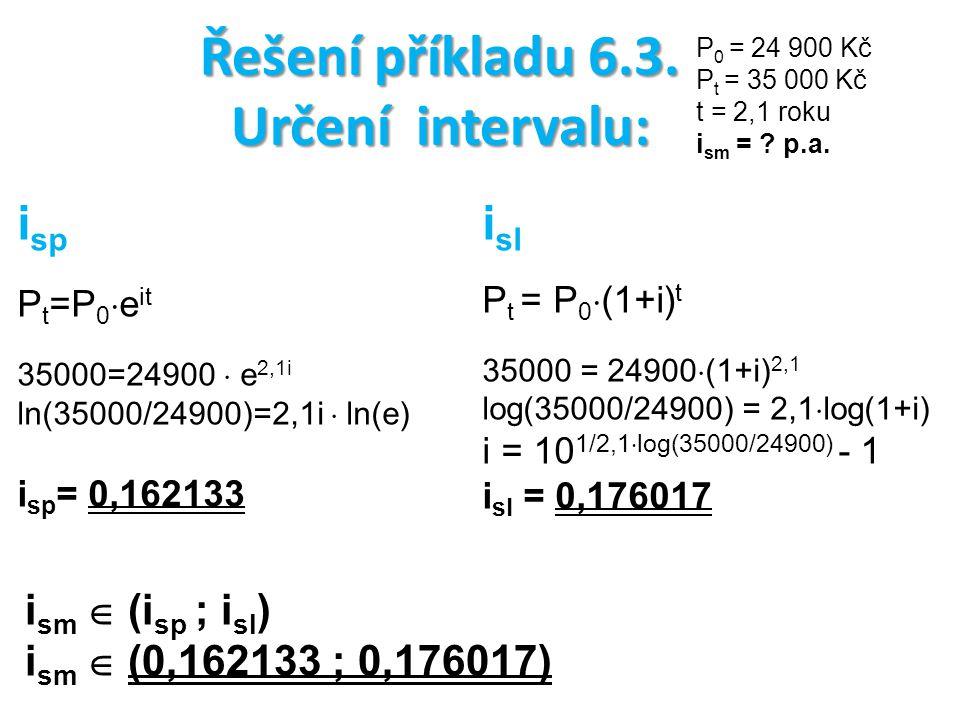 Řešení příkladu 6.3. Určení intervalu: P 0 = 24 900 Kč P t = 35 000 Kč t = 2,1 roku i sm = ? p.a. i sp P t =P 0  e it 35000=24900  e 2,1i ln(35000/2