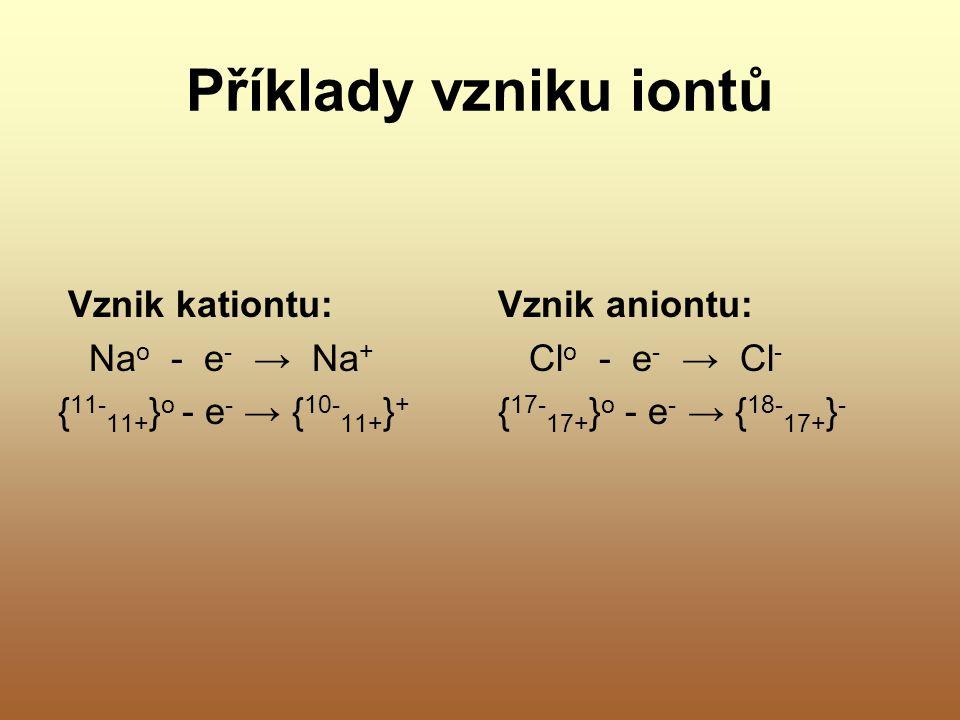 Příklady vzniku iontů Vznik kationtu: Na o - e - → Na + { 11- 11+ } o - e - → { 10- 11+ } + Vznik aniontu: Cl o - e - → Cl - { 17- 17+ } o - e - → { 1