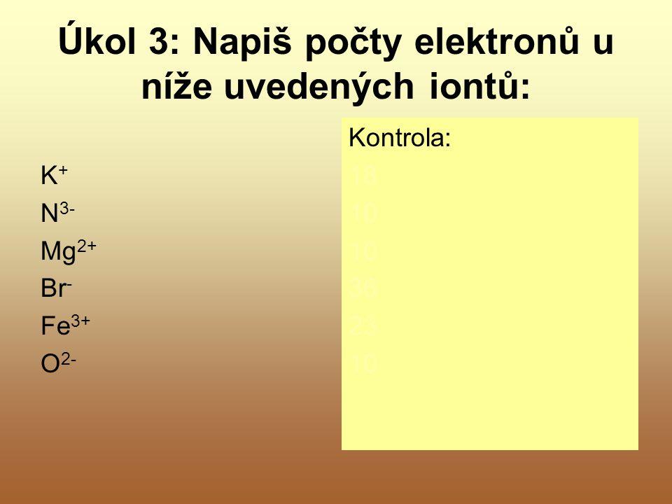 Úkol 3: Napiš počty elektronů u níže uvedených iontů: K + N 3- Mg 2+ Br - Fe 3+ O 2- Kontrola: 18 10 36 23 10