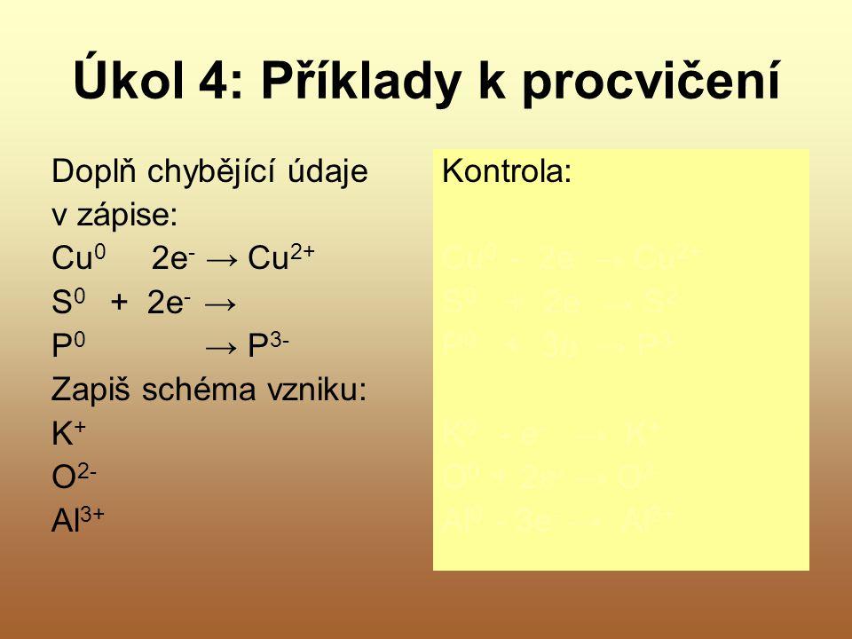 Úkol 4: Příklady k procvičení Doplň chybějící údaje v zápise: Cu 0 2e - → Cu 2+ S 0 + 2e - → P 0 → P 3- Zapiš schéma vzniku: K + O 2- Al 3+ Kontrola: