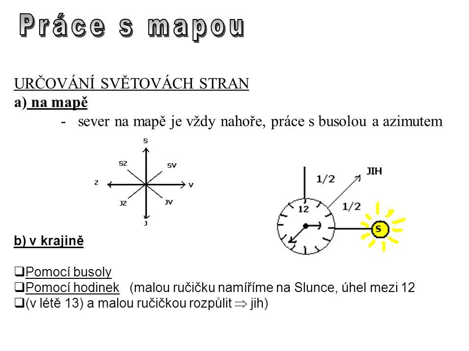 URČOVÁNÍ SVĚTOVÁCH STRAN a) na mapě - sever na mapě je vždy nahoře, práce s busolou a azimutem b) v krajině  Pomocí busoly  Pomocí hodinek (malou ručičku namíříme na Slunce, úhel mezi 12  (v létě 13) a malou ručičkou rozpůlit  jih)