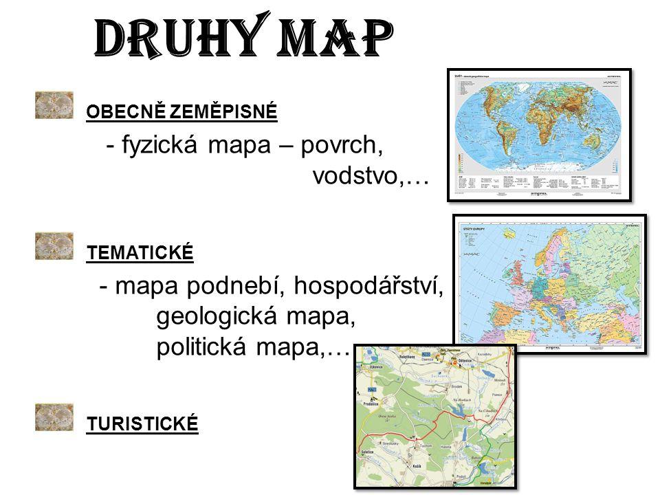 OBECNĚ ZEMĚPISNÉ - fyzická mapa – povrch, vodstvo,… TEMATICKÉ - mapa podnebí, hospodářství, geologická mapa, politická mapa,… TURISTICKÉ DRUHY MAP