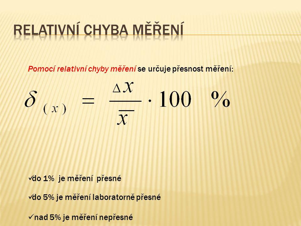 Pomocí relativní chyby měření se určuje přesnost měření: do 1% je měření přesné do 5% je měření laboratorně přesné nad 5% je měření nepřesné