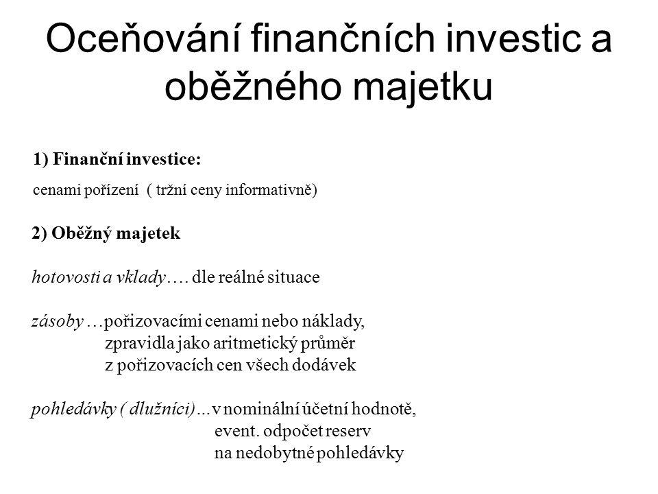 Oceňování finančních investic a oběžného majetku 2) Oběžný majetek hotovosti a vklady….