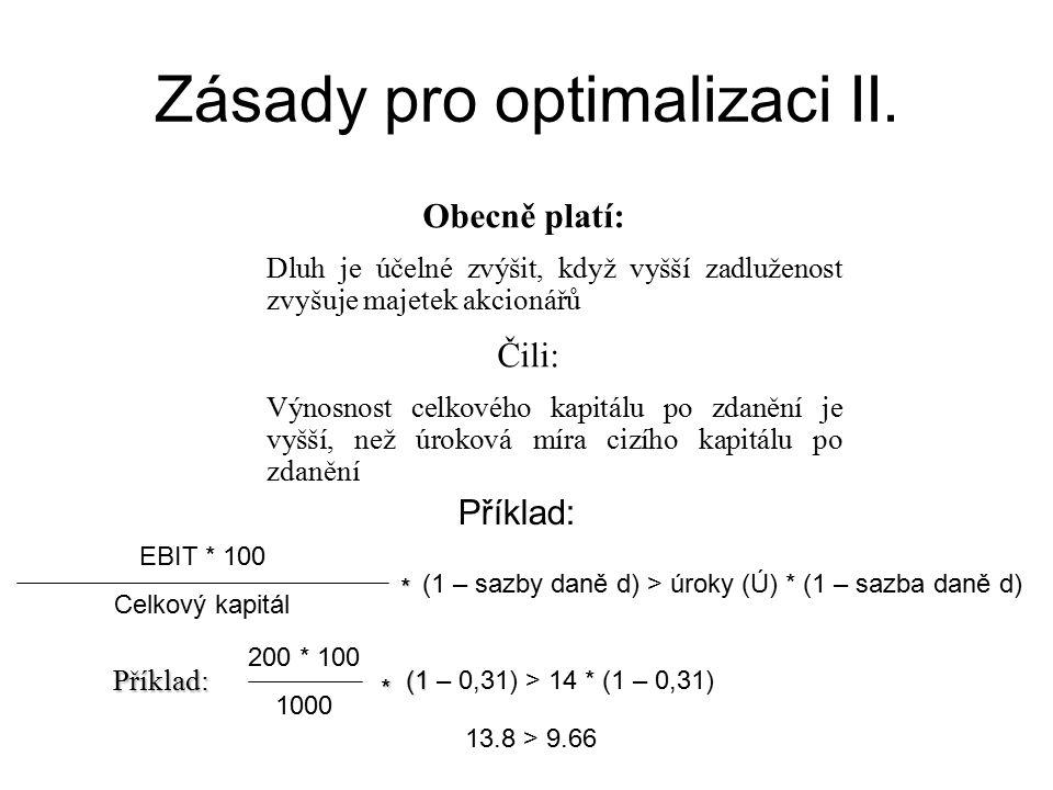 Zásady pro optimalizaci II.