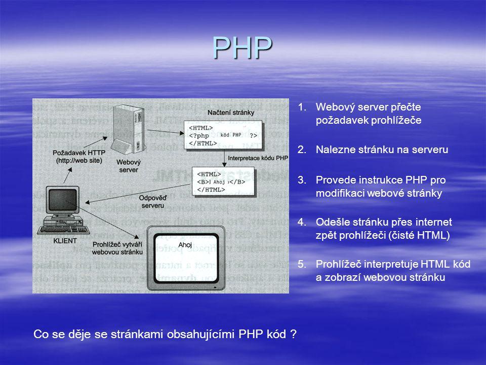 PHP 1.Webový server přečte požadavek prohlížeče Co se děje se stránkami obsahujícími PHP kód ? 2.Nalezne stránku na serveru 3.Provede instrukce PHP pr