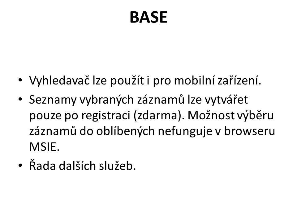 BASE Vyhledavač lze použít i pro mobilní zařízení.