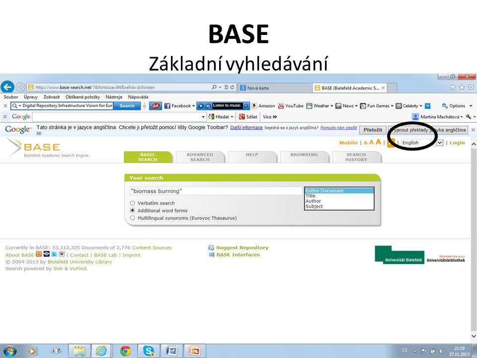 BASE Základní vyhledávání