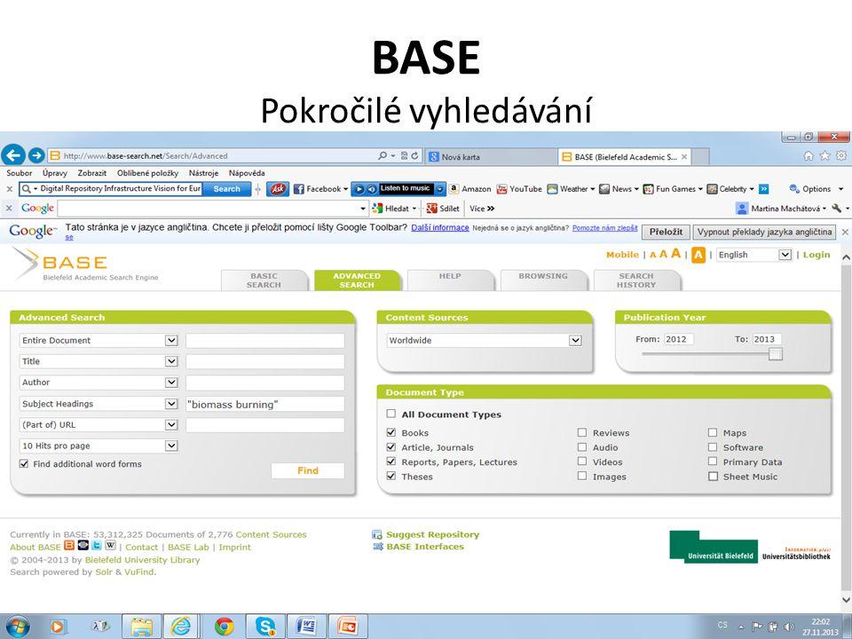 BASE Pokročilé vyhledávání