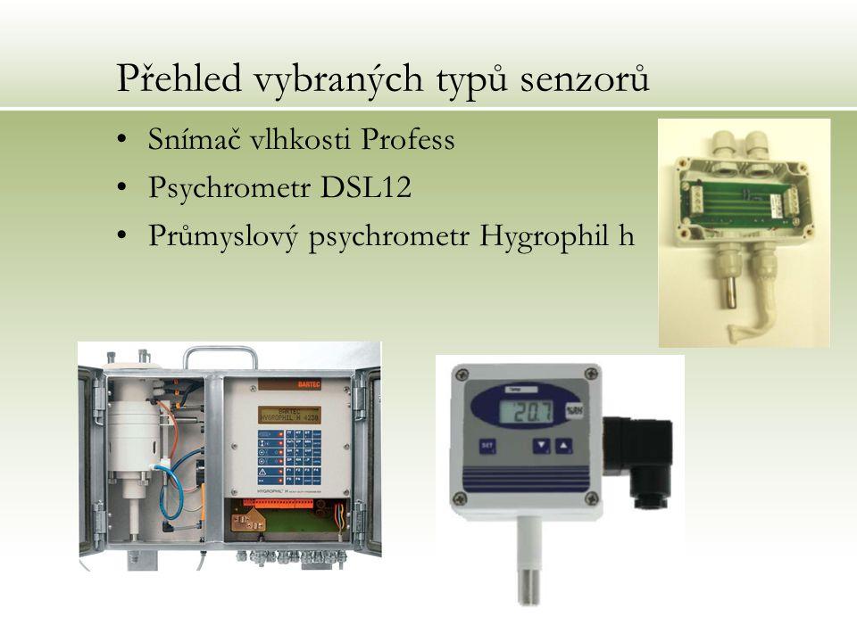 Přehled vybraných typů senzorů Snímač vlhkosti Profess Psychrometr DSL12 Průmyslový psychrometr Hygrophil h