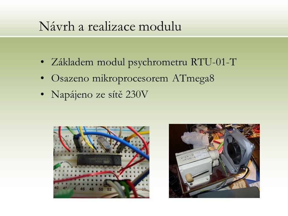Návrh a realizace modulu Základem modul psychrometru RTU-01-T Osazeno mikroprocesorem ATmega8 Napájeno ze sítě 230V