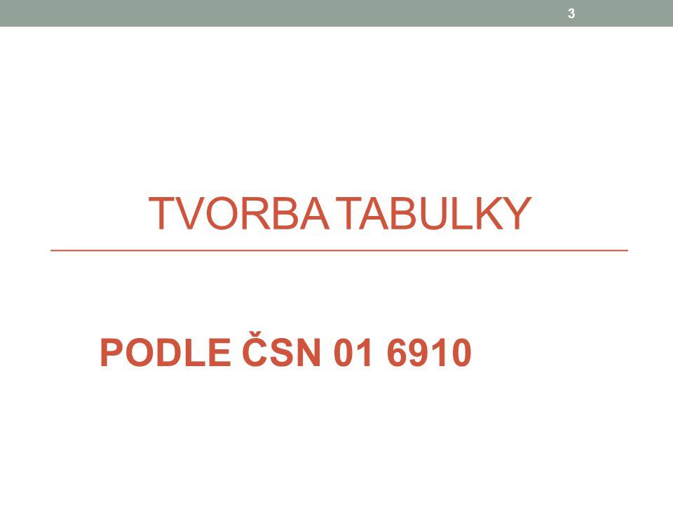 TVORBA TABULKY PODLE ČSN 01 6910 3