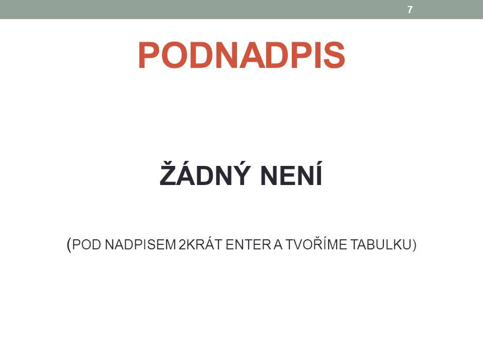 ZÁHLAVÍ TABULKY 1.Sloupec – Ukazatel 2. Sloupec - (4sloupec) - Čtvrtletí roku 2012 (I.