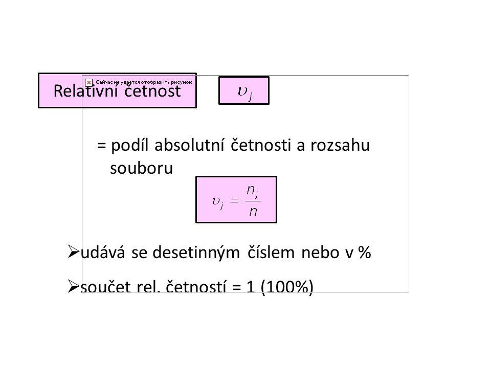 Relativní četnost = podíl absolutní četnosti a rozsahu souboru  udává se desetinným číslem nebo v %  součet rel. četností = 1 (100%)