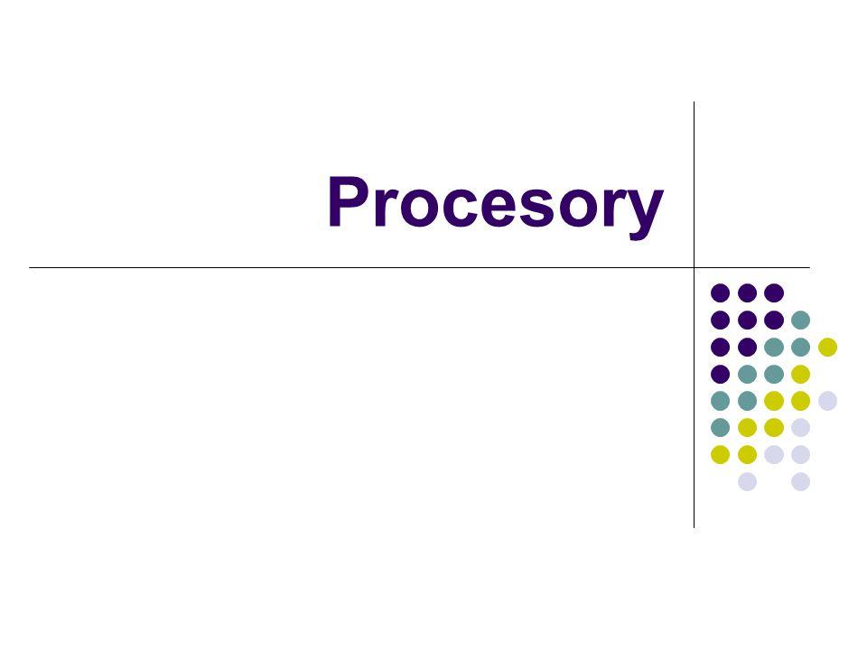 Procesor CPU = centrální procesorová jednotka vykonává instrukce aplikací jednoduché logické a matematické operace s celými čísly, větvení programu… primárně určuje výkon měří se v IPS (Instructions Per Second) taktovací frekvence