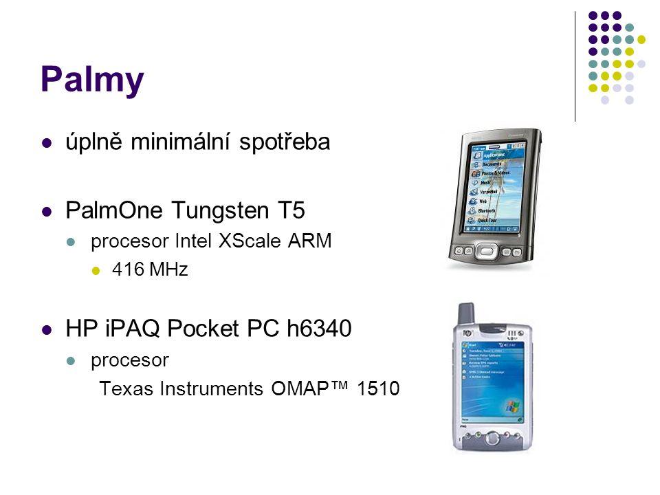 Palmy úplně minimální spotřeba PalmOne Tungsten T5 procesor Intel XScale ARM 416 MHz HP iPAQ Pocket PC h6340 procesor Texas Instruments OMAP™ 1510