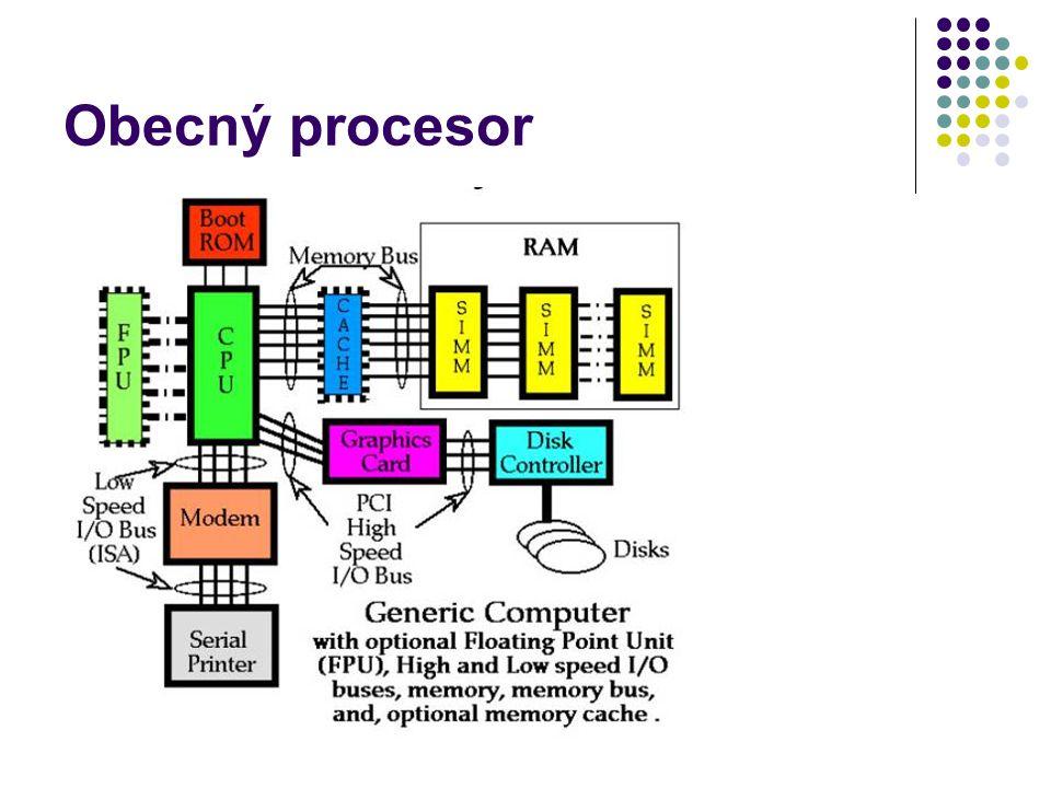 CISC a RISC architektura CISC = Complex Instruction Set Computer pod jedním instrukčním kódem složité operace sčítání = 1 instrukce RISC = Reduced Instruction Set Computer složitější operace nahrazeny jednoduššími operacemi sčítání = 4 instrukce dnes post CISC/RISC – kombinace