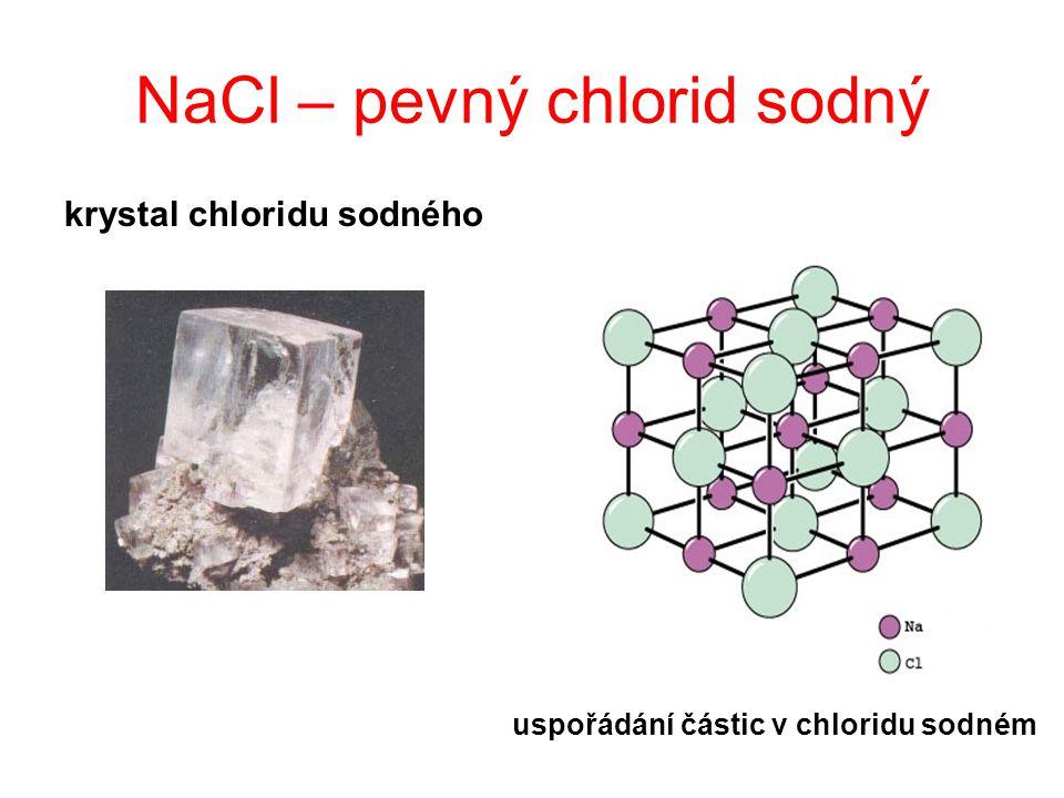 NaCl – pevný chlorid sodný krystal chloridu sodného uspořádání částic v chloridu sodném