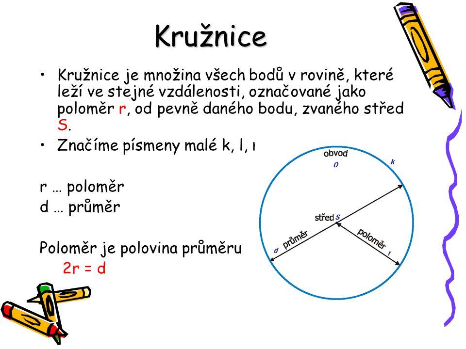 Kružnice Kružnice je množina všech bodů v rovině, které leží ve stejné vzdálenosti, označované jako poloměr r, od pevně daného bodu, zvaného střed S.