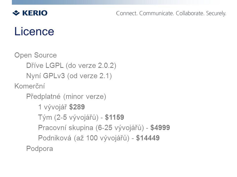 Licence Open Source Dříve LGPL (do verze 2.0.2) Nyní GPLv3 (od verze 2.1) Komerční Předplatné (minor verze) 1 vývojář $289 Tým (2-5 vývojářů) - $1159 Pracovní skupina (6-25 vývojářů) - $4999 Podniková (až 100 vývojářů) - $14449 Podpora