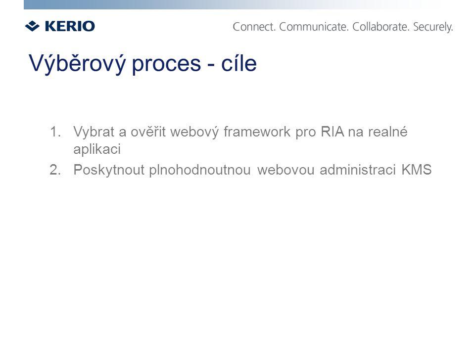 Výběrový proces - cíle 1. Vybrat a ověřit webový framework pro RIA na realné aplikaci 2.