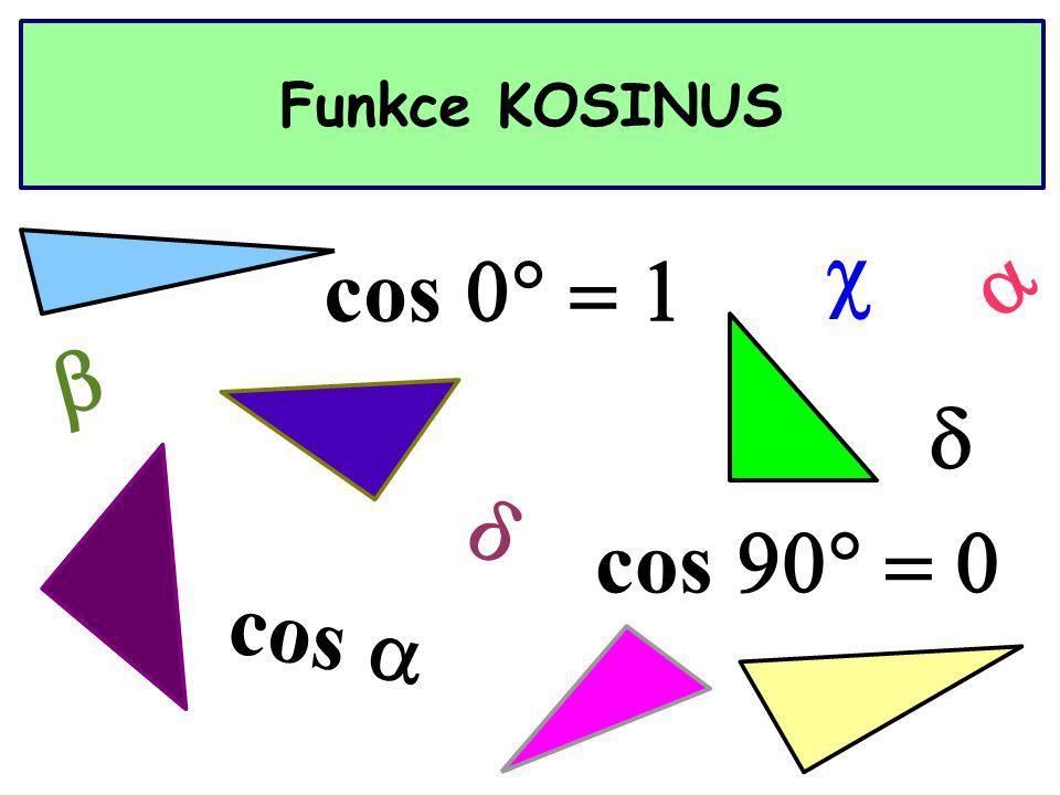 Funkce KOSINUS cos  cos  cos      