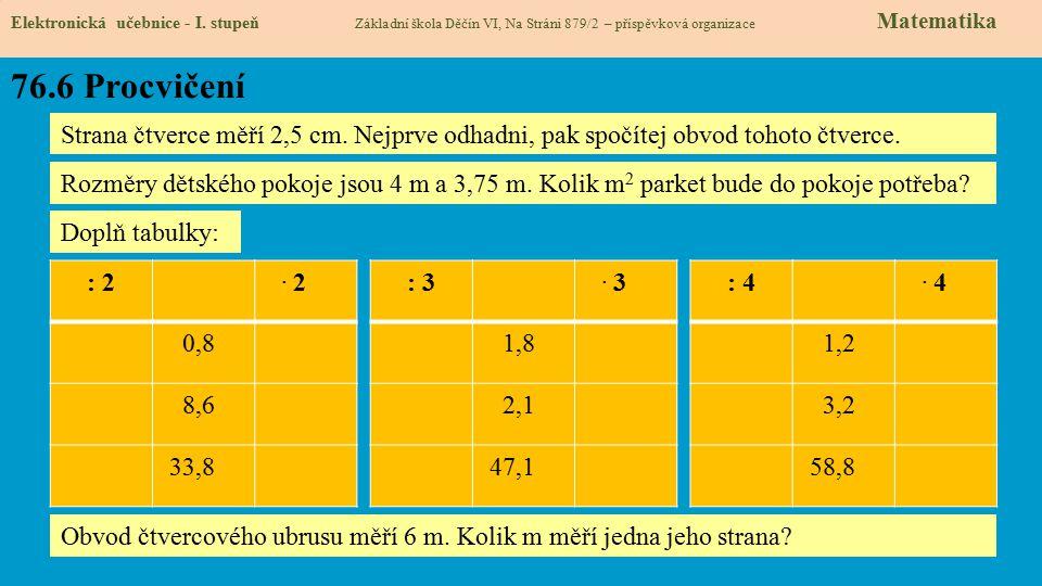76.6 Procvičení Elektronická učebnice - I.