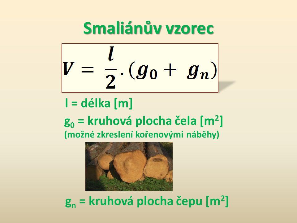 Smaliánův vzorec l = délka [m] g 0 = kruhová plocha čela [m 2 ] (možné zkreslení kořenovými náběhy) g n = kruhová plocha čepu [m 2 ]