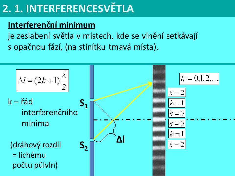 2. 1. INTERFERENCESVĚTLA S1S1 S2S2 ∆l Interferenční minimum je zeslabení světla v místech, kde se vlnění setkávají s opačnou fází, (na stínítku tmavá