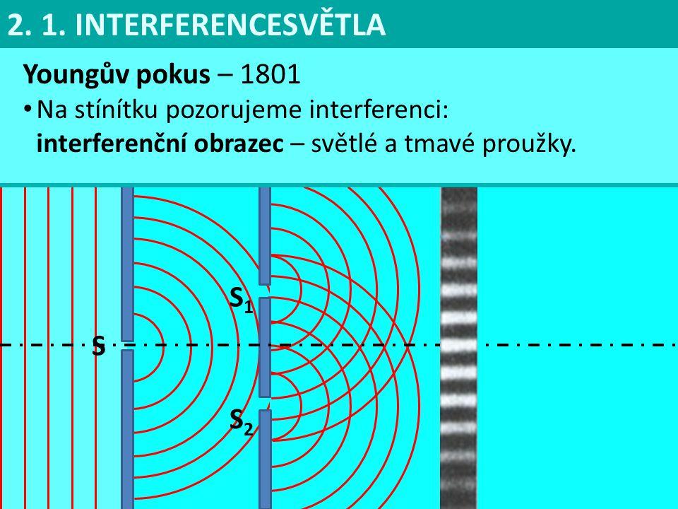 Youngův pokus – 1801 Na stínítku pozorujeme interferenci: interferenční obrazec – světlé a tmavé proužky. 2. 1. INTERFERENCESVĚTLA S S1S1 S2S2