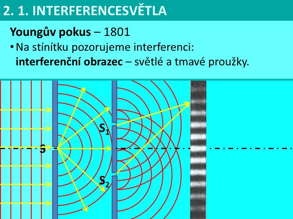 Youngův pokus – 1801 Na stínítku pozorujeme interferenci: interferenční obrazec – světlé a tmavé proužky.