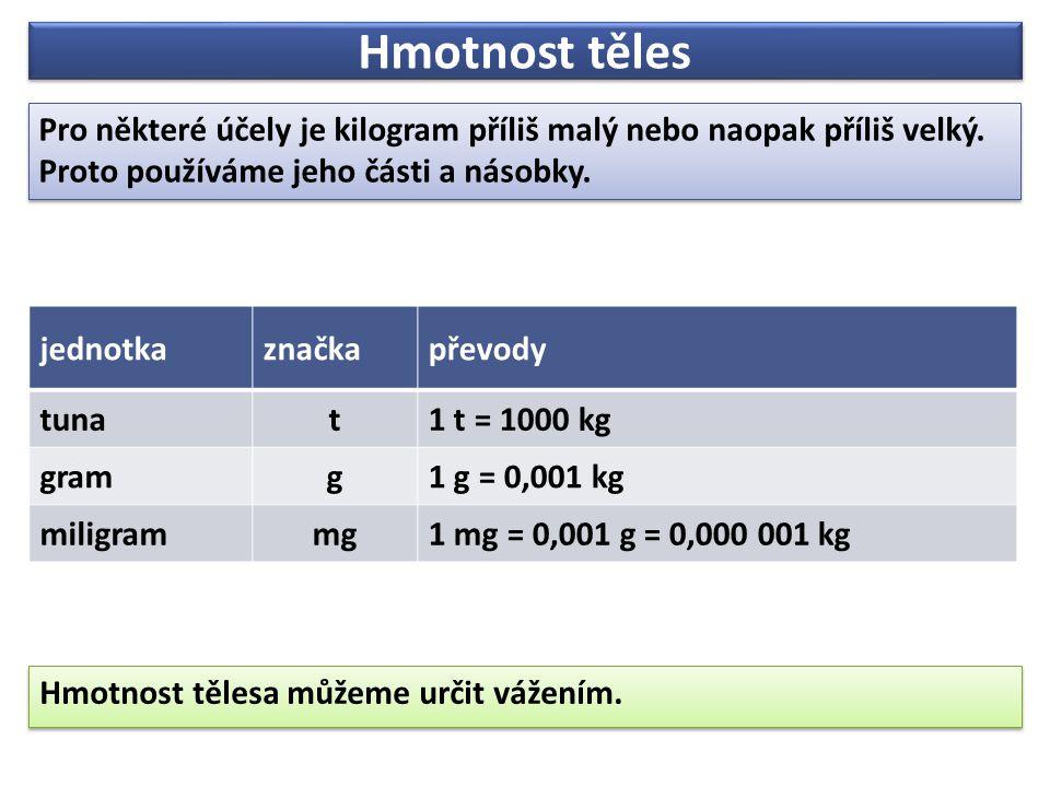 Hmotnost těles Pro některé účely je kilogram příliš malý nebo naopak příliš velký.