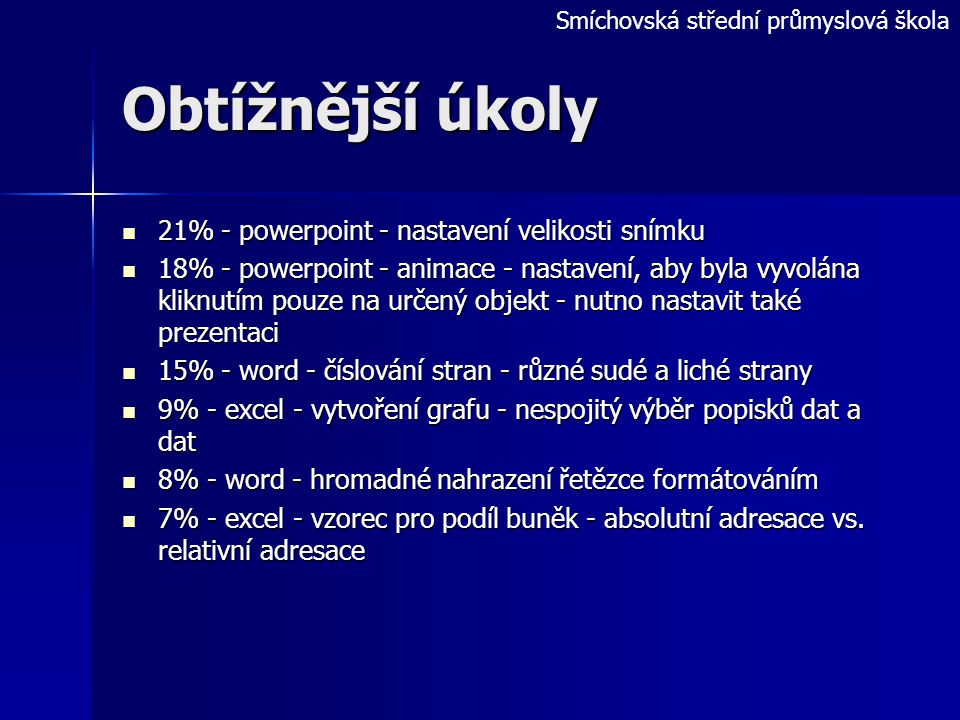 Smíchovská střední průmyslová škola Snadnější úkoly 89%- word - statistika počtu slov 89%- word - statistika počtu slov 60% - powerpoint - animace - u
