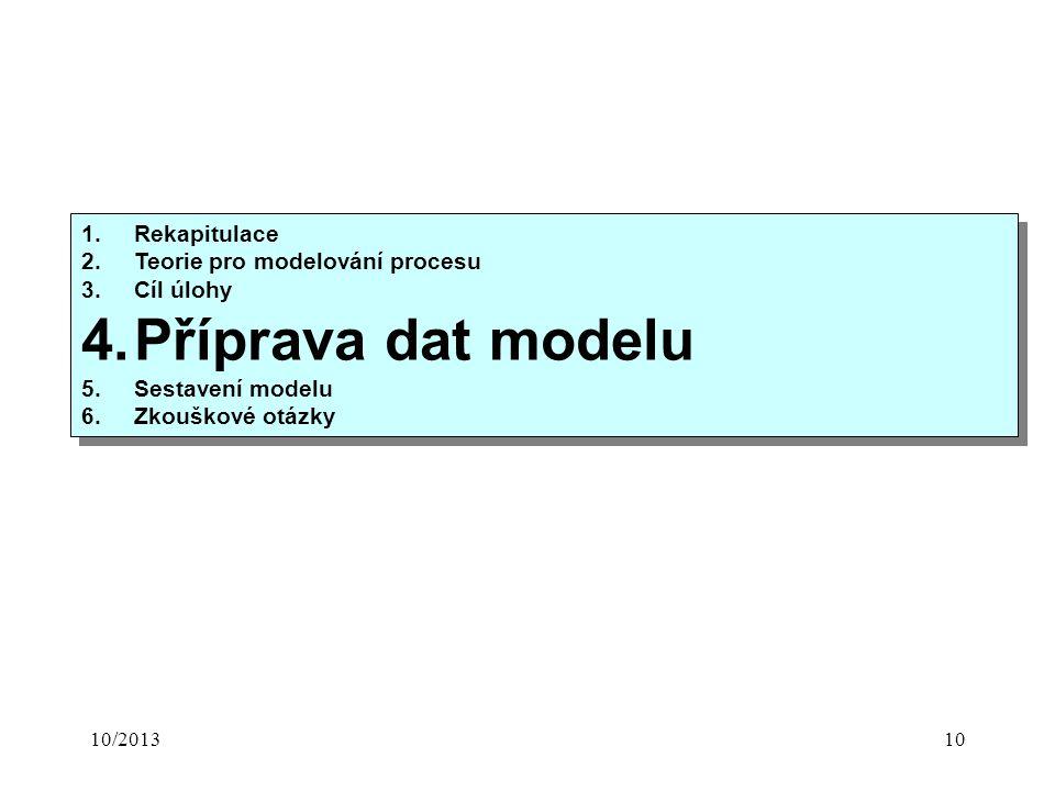 10/201310 1.Rekapitulace 2.Teorie pro modelování procesu 3.Cíl úlohy 4.Příprava dat modelu 5.Sestavení modelu 6.Zkouškové otázky 1.Rekapitulace 2.Teorie pro modelování procesu 3.Cíl úlohy 4.Příprava dat modelu 5.Sestavení modelu 6.Zkouškové otázky