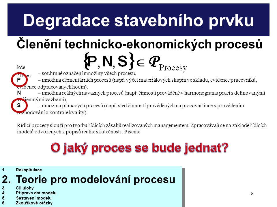 10/20138 Degradace stavebního prvku kde P Procesy – souhrnné označení množiny všech procesů, P – množina elementárních procesů (např.
