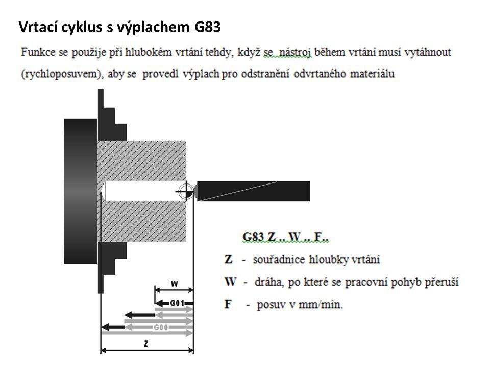 Vrtací cyklus s výplachem G83